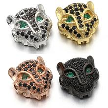 11*11mm najlepsza jakość mosiądz cyrkonia Leopard koraliki dla DIY biżuteria akcesoria Making otwór 1 5mm VZ168 VZ230 tanie tanio ZHUKOU CN (pochodzenie) Miedzi 1 4g Moda Gold Rose Gold Rhodium Gunmetal Micro Pave CZ Jewelry Findings Diy craft Free Dropshipping Service