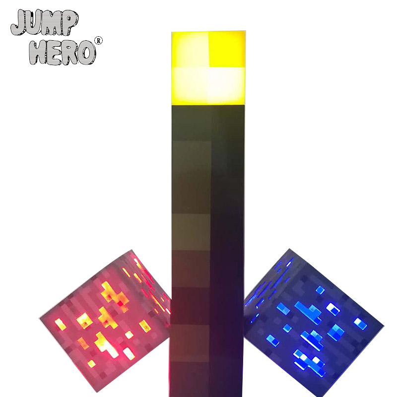 Minecraft Light Up Torch LED Action Figure Toys Wall Lamp Hand Held Wall Mount Redstone Ore Square Room Decoration for kids #EA цены онлайн