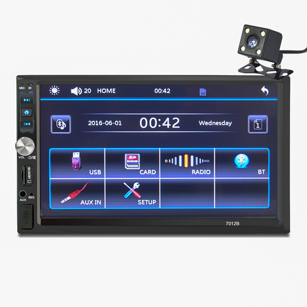7'' Bluetooth TFT Screen Car Audio Stereo MP5 Player 12V Auto 2-Din Support AUX FM USB SD MMC JPEG,WMA,MP4 7012B+Rearview Camera 2015 new support rear camera car stereo mp3 mp4 player 12v car audio video mp5 bluetooth hands free usb tft mmc remote control