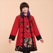 Winter chineses tyle retro frog cotton linen contrast color patchwork embroidery coat cotton-padded clothes trench coat