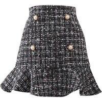 woolen fishtail skirt winter women high waist small fragrance tweed wool mini skirt