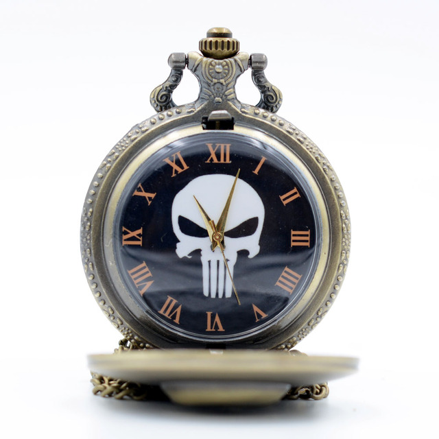 Vintage Retro The Punisher Skull Dial Roman Numeral Quartz Pocket Watch Analog P
