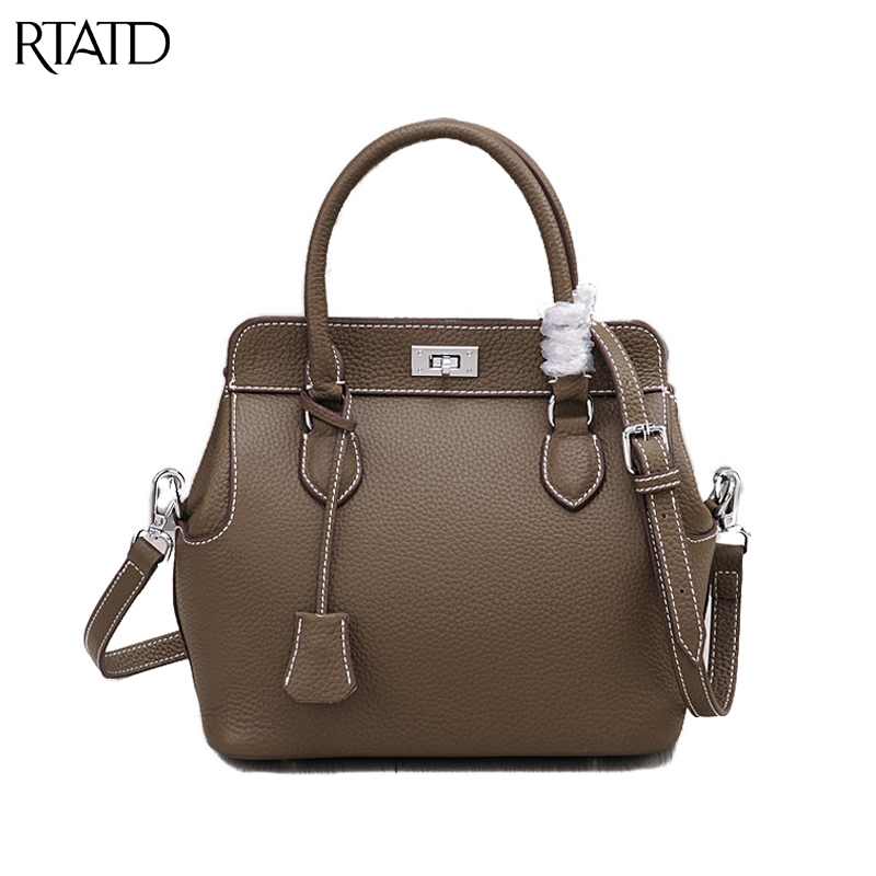 RTATD New Classic Small Tote Trendy Women Genuine Leather Handbags 2 Size Ladies Messenger Bags For Female Crossbody Bag B258 new 2017 2 size designer classic casual tote popular women genuine leather handbags ladies bag messenger bags for female an808