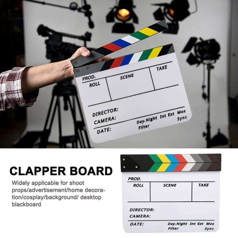 Acrylic Director Scene Clapperboard TV Movie Action Board Film Cut Prop