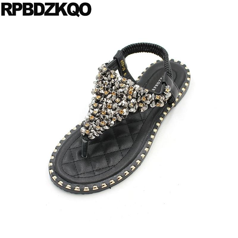 Thong Jewel Crystal Women Soft T Strap Shoes Rivet Diamond Flat Style  Fashion Sandals Bohemia Black ... 2d50d9c4be37