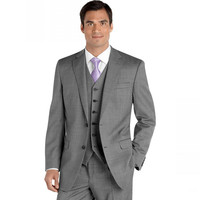 Notched Lapel Two Button Groomsman Gray Tuxedos Male Wedding Suits Handsome Blazer ( jacket+Pants+vest+tie)