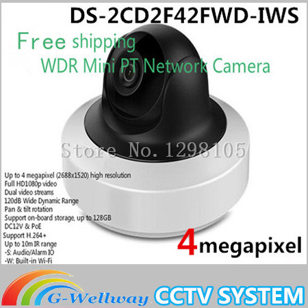 Free shipping English Version Ds-2cd2f42fwd-iws 4mp Wdr Mini Pt Network Cctv Camera, Wifi Ip Camera Poe for SDCard Recordi alarm free shipping in stock new arrival english version ds 2cd2142fwd iws 4mp wdr fixed dome with wifi network camera