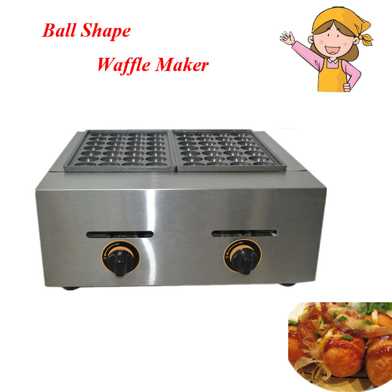 1ps Gas Type 2 Plates Toasting Waffler Maker Ball Former Octopus Cluster Fish Ball Takoyaki Egg Cookie Making Appliacne FY-56.R цена и фото