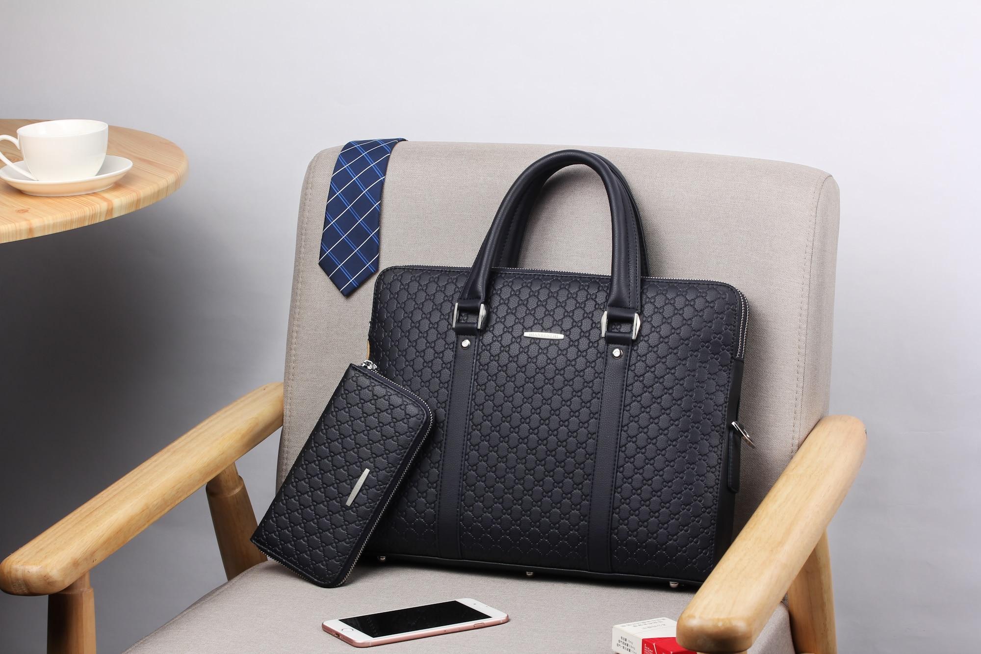 HTB1n8ngbBiE3KVjSZFMq6zQhVXaF Double Layers Men's Microfiber Synthetic Leather Business Briefcase Casual Shoulder Bag Messenger Bag Laptop Handbag Travel Bag