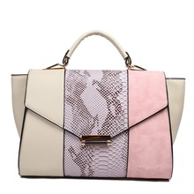 Fashionable Design Style women totes handbags with snakeskin panel Uses three contrasting colours in gorgeous combinations.