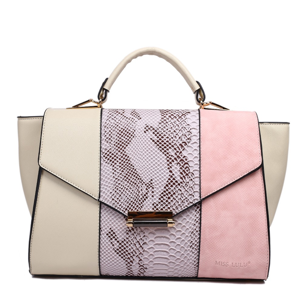 Fashionable Design Style Women Totes Handbags With Snakeskin Panel Uses Three Contrasting Colours In Gorgeous Combinations Top Handle Bags From Luggage