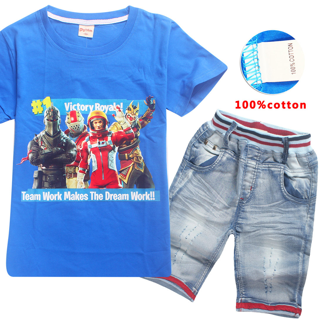 Z&Y 6-14Years 2018 Casual Children Clothing Fortnite T Shirt Jeans Short Sets Gentleman Suit Kids Clothes Boys Clothing Set Nova