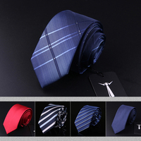 2017 New Fashion Formal Business Slim Red Ties for men Classic Faux Silk Black Striped Work Party Wedding 6cm Neckties Gift Box