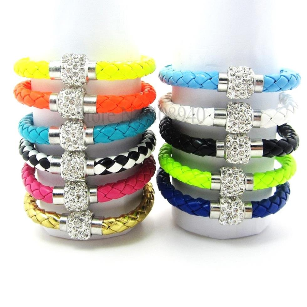 10pcs/lot free ePacketship Mix 12colorsPu Leather Shamballa Bracelet Crystal Ball Pink and White Braided Fireball Magnetic Clasp