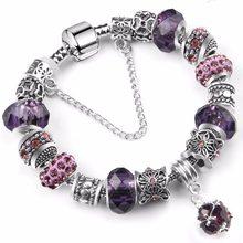 2021 antigo charme pulseira & bangle com amor flor bola de cristal feminino contas pulseiras jóias casamento dropshipping