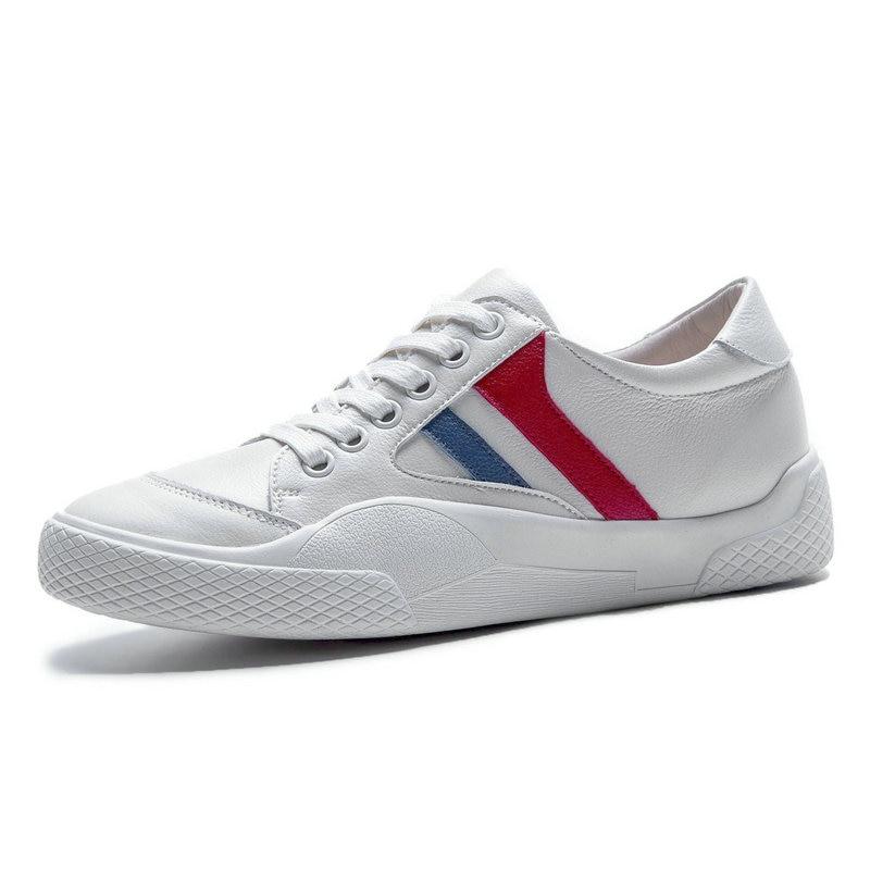 Trendy Casual Vrouwen Dikke Zool Platform Sneakers Schoenen Vrouw Luxe Lederen Platte Schoenen Dames Wit Sneakers chaussures femme-in Sneakers voor vrouwen van Schoenen op  Groep 1