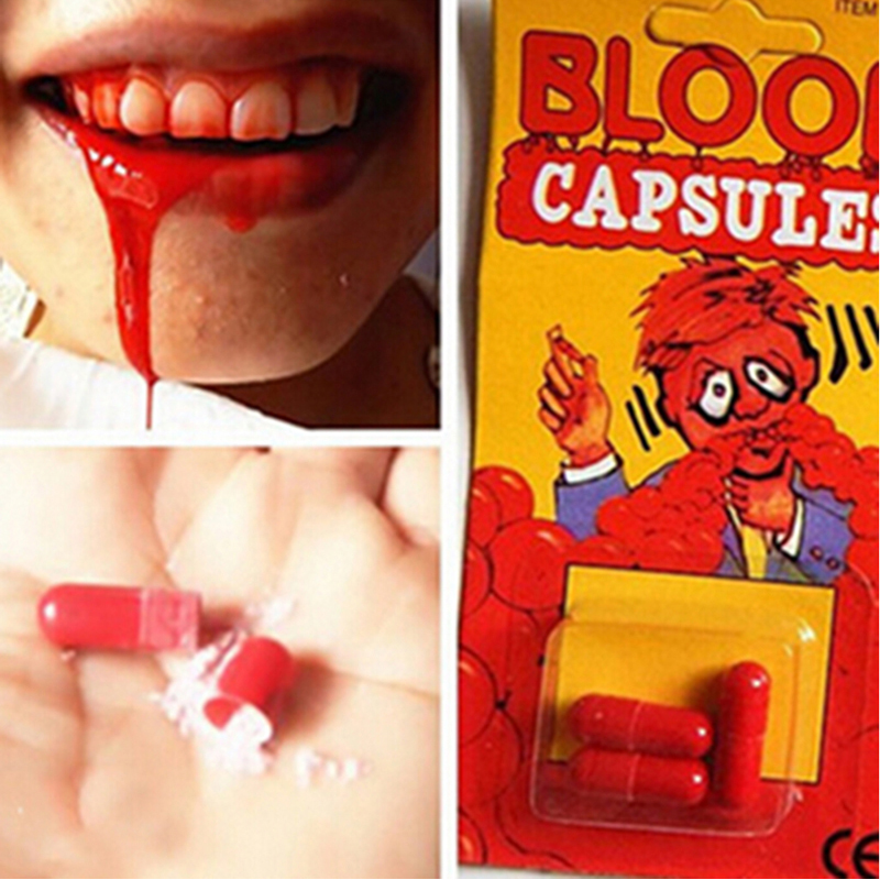 3pcs/Set Funny Joke Toys Blood Pill Trick Toys Whimsy Prop Vomiting Blood Capsule Joke Toys For Kids Halloween Party