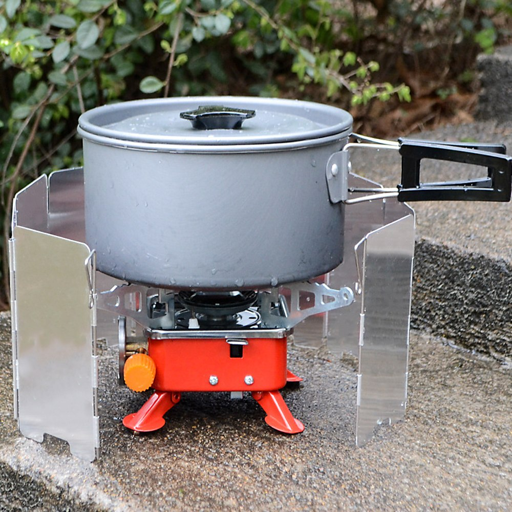 9 Plate Fold Camping Cooker Gas Stove Wind Shield Screen Foldable Outdoor  Portable Cookware Picnic Cooking Camping Tool