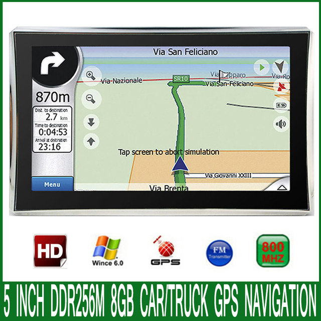 5 inch HD Car MTK MS2531 OS CE 6.0 GPS Navigation 800M/ FM/8GB/DDR 256M Newest  Maps For Russia/Europe/USA vehicle Navigator