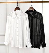 High quality diamons long sleeve Chiffon Shirts Women 2019 spring runways white/black stripe shirts & Blouses G089