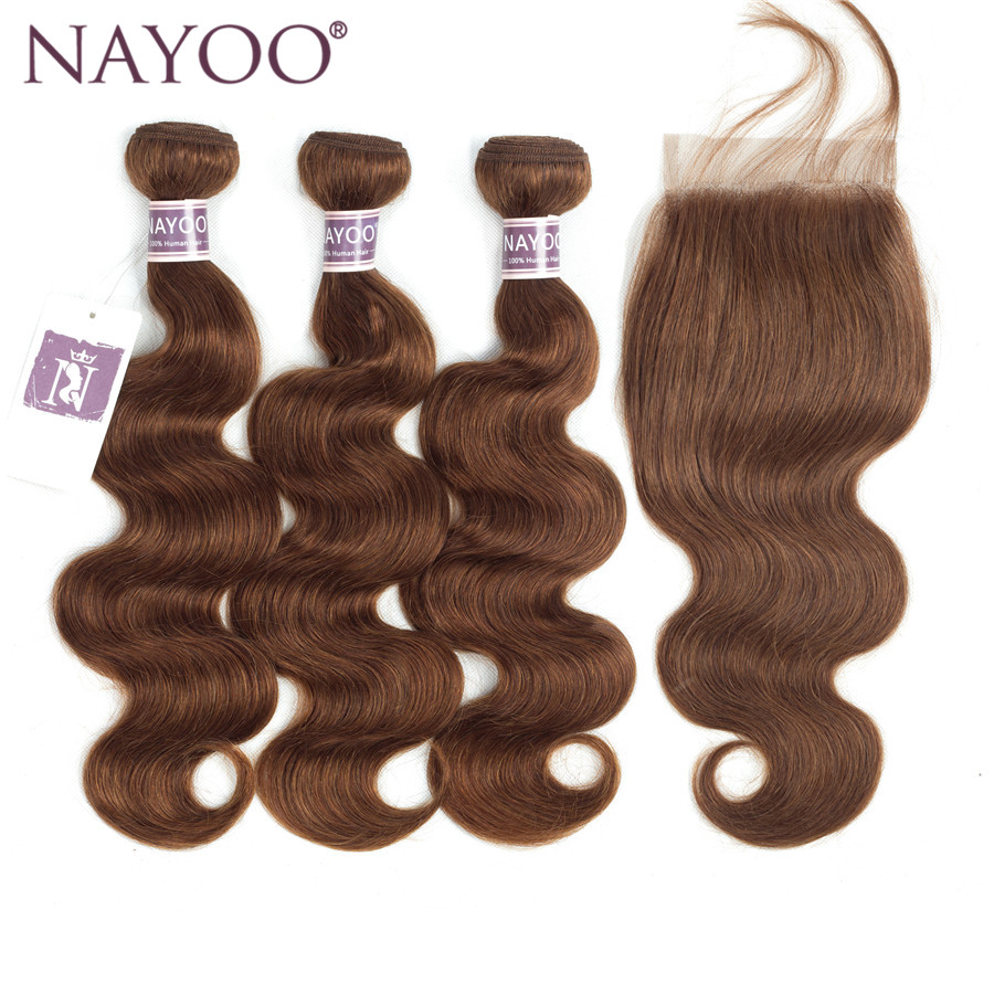 NAYOO Pre-colored Human Hair Weave 3 Bundles With Lace Closure Color #4 Light Brown Brazilian Body Wave Non-Remy Hair Extensions