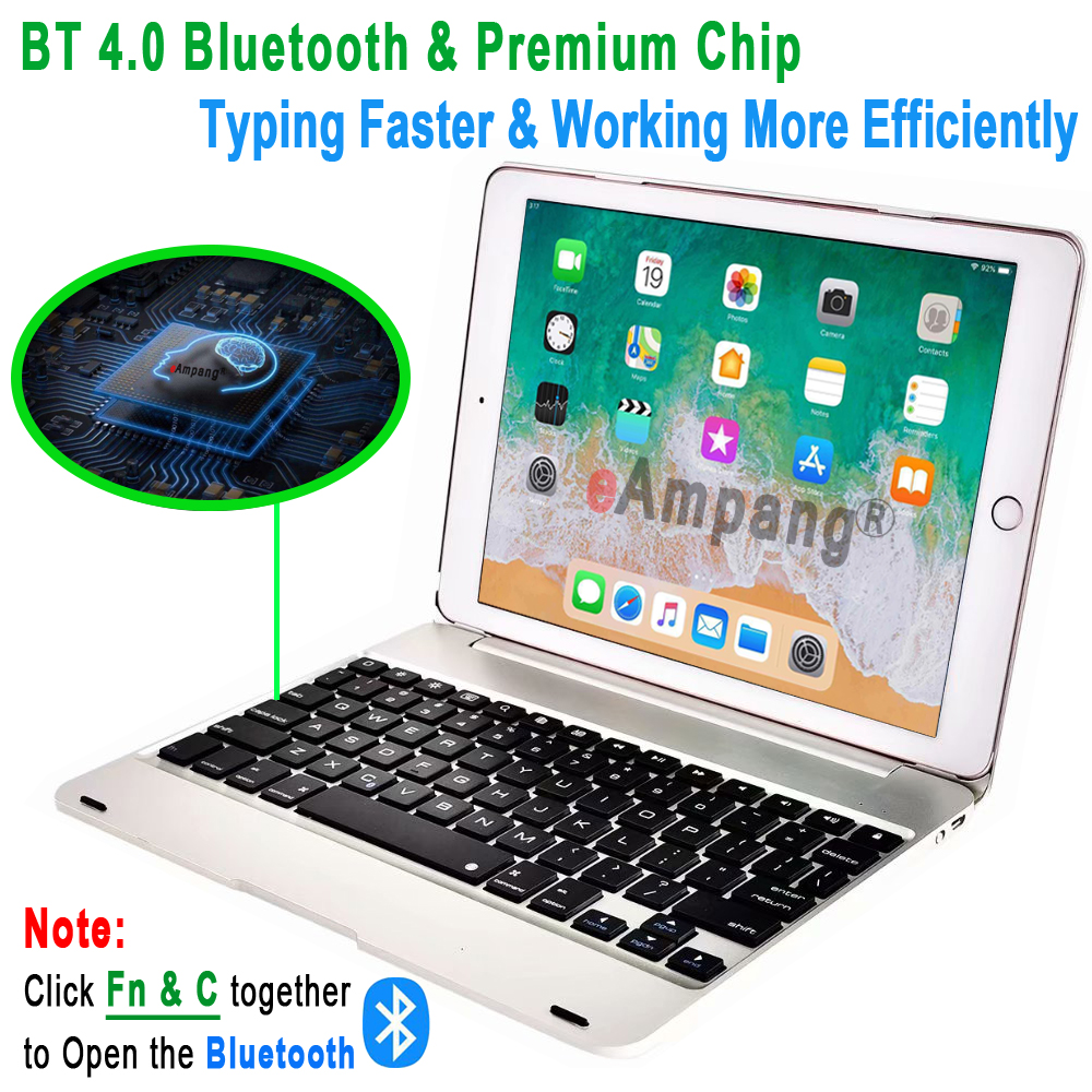 Image 4 - Top Flip Keyboard for Apple iPad 9.7 2017 2018 5th 6th Generation Bluetooth Keyboard Case for iPad Air 1 2 5 6 Pro 9.7 Cover-in Tablets & e-Books Case from Computer & Office