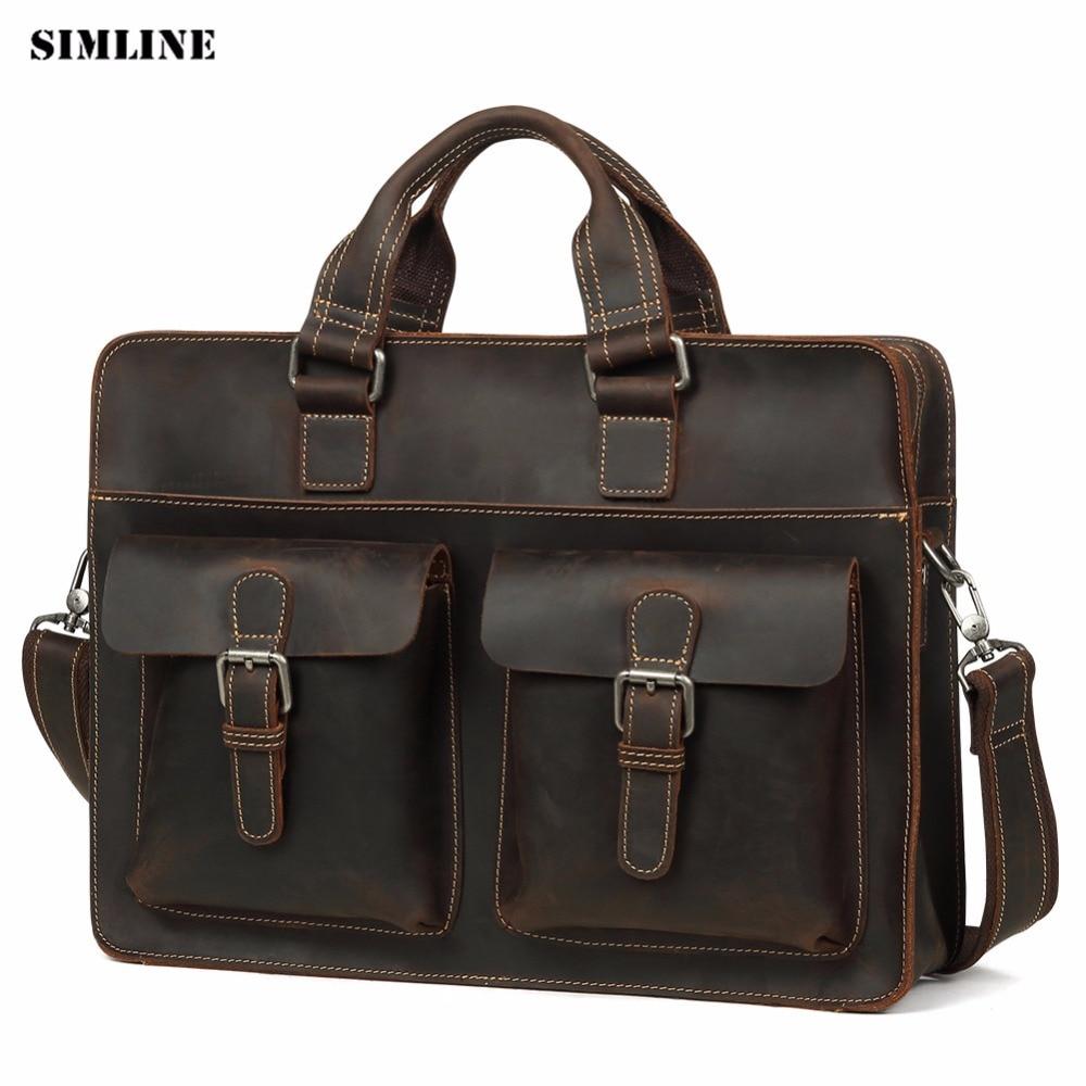 SIMLINE Винтаж Подлинная Crazy Horse кожаная сумка Для мужчин из натуральной коровьей кожи плеча Crossbody сумка для ноутбука сумки мужской Портфели