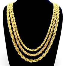 Rope Chain Necklace Yellow Gold Filled Twisted Knot Chain 3mm,5mm,7mm Wide
