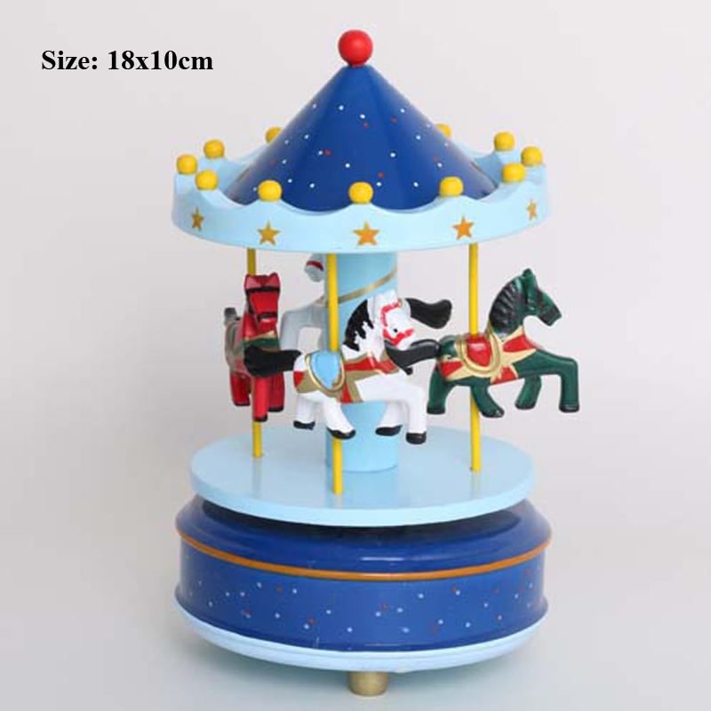 Musical Carousel Cupcake Toppers Newborn Baby Boy First Birthday Girl Cake Decorating Supplies Music Box Topper In