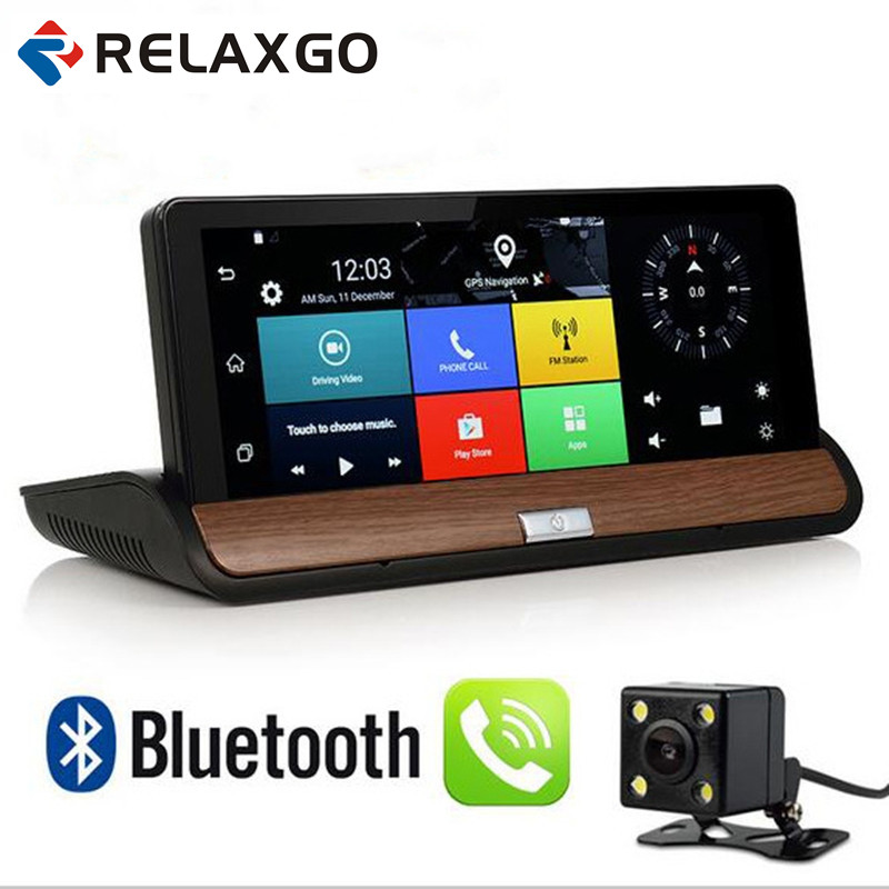 Relaxgo 7 Android 3G Car Camera GPS Navigation Bluetooth Wifi Car DVR Video Recorder Dual Lens Full HD 1080P Dash Cam Parking
