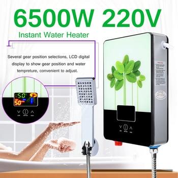 6500W Water Heater Electric Hot Water Boiler 220V Tankless Instant Boiler Bathroom Shower Set Thermostat Intelligent Calorifier