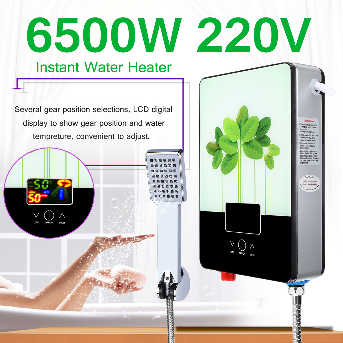 Electric Hot Water Heater 6500W 220V Tankless Instant Boiler Bathroom Shower Set Thermostat Safe Intelligent Automatically
