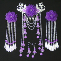 4PCS SETS Classical Costume Jewelry Vintage Antique EARRING Hairpins Headdress Hairpin Tassel Hair Cos Ancient Bu