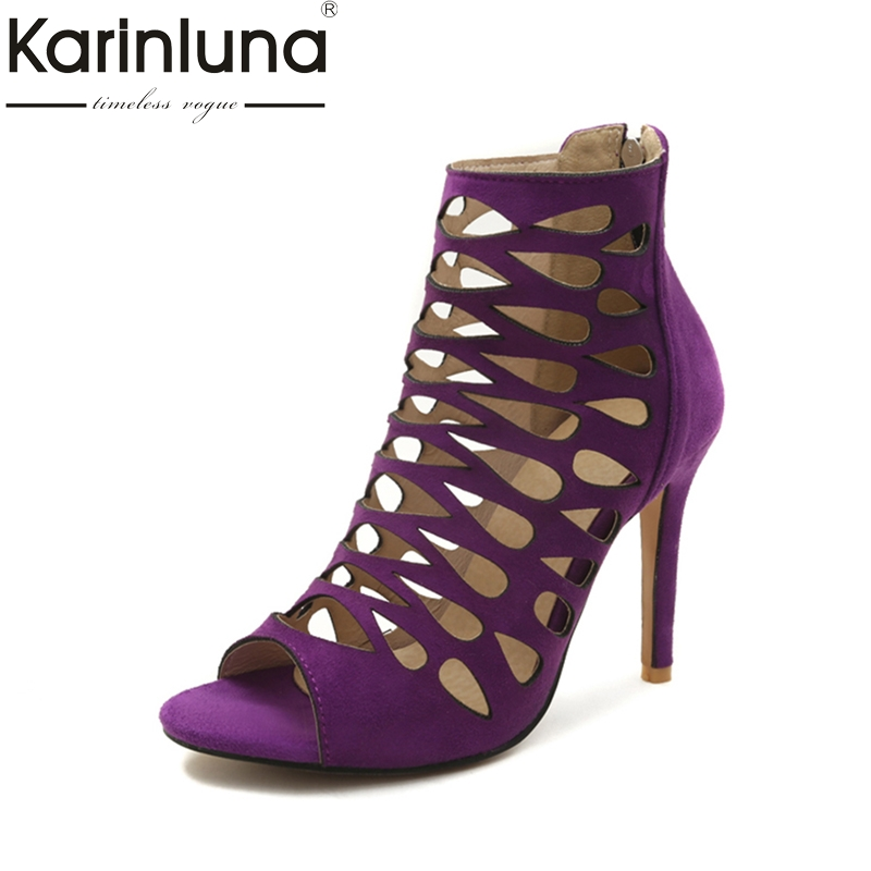 Karinluna 2018 Big Size 32-46 Customize Thin High Heel Sandals Hollow Gladiator Sandals Shoes Sexy Summer Party Women Shoes pennyblack платье длиной 3 4