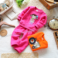 Retail 2013 Spring autumn kids clothing sets baby girl casual sportswear children's sports suit cartoon sweatshirt  trousers set