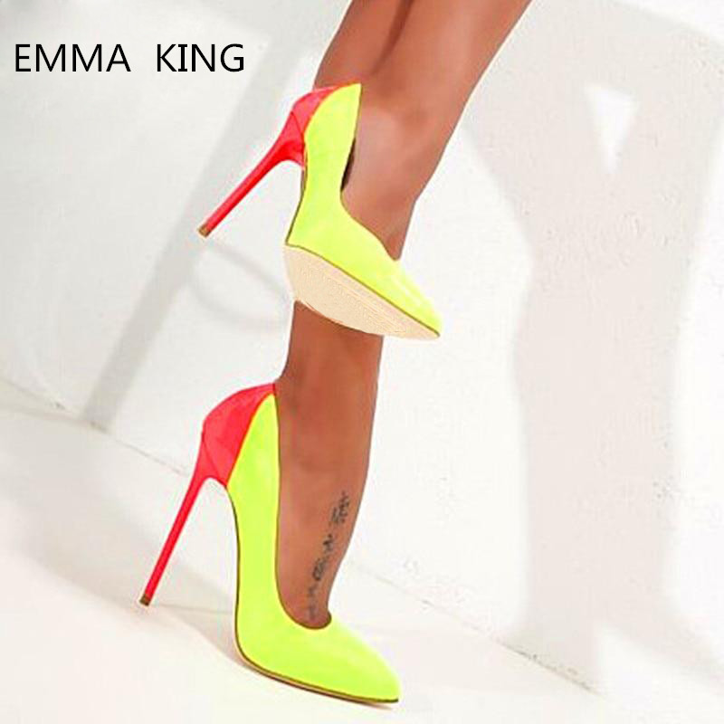 aa2f20d4cfe ALMUDENA Best Selling Girl's Bright Yellow Mirrored Leather Pumps ...