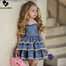 Chivry 2019 Grils Cute Sleeveless Plaid Princess Layered Ball Grown Dress Kids Baby Girls Wedding Party Birthday Dresses Clothes недорого