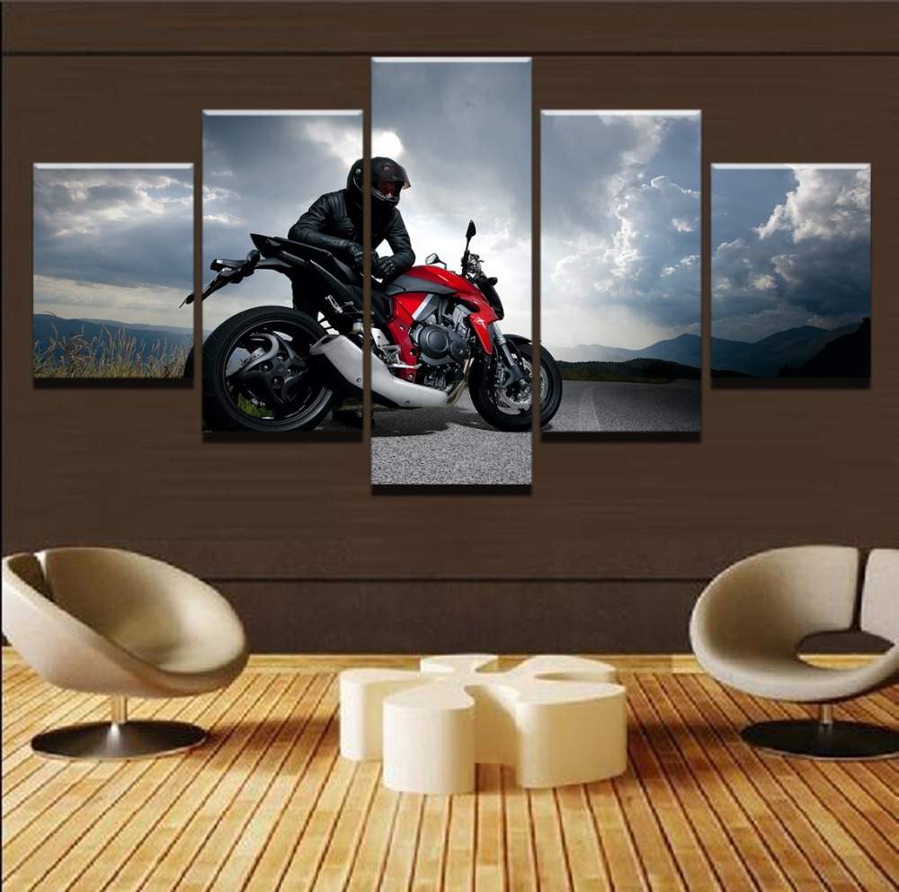 Wall Art Poster Modular Picture Canvas Framework 5 Panel Motorcycle And Racer Painting Modern Living Room Decorative Artwork