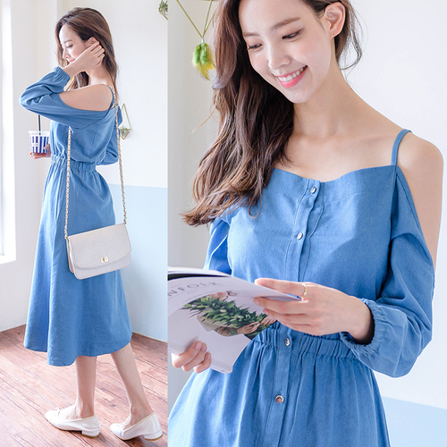 3f9ec6ff2ec Denim Dress Women 2018 Spring Korean Style Vintage Off Shoulder High Waist  Casual Long Blue Jeans Dress vestidos jeans 1377-in Dresses from Women s  Clothing ...
