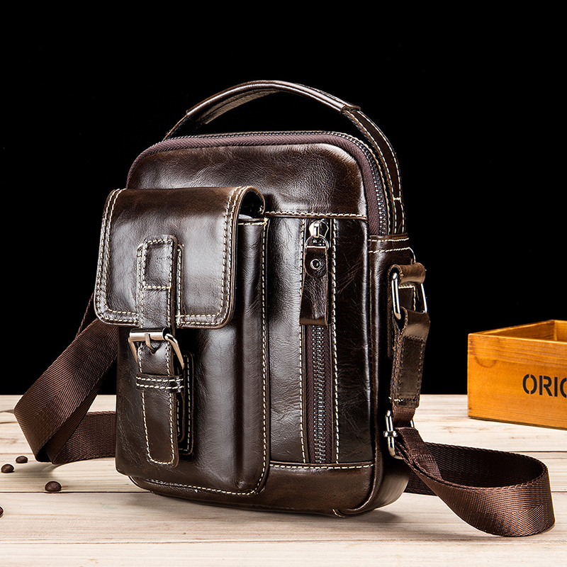 Men's Genuine Leather Multi-Function Retro Messenger Bag High Quality Large Capacity Multi-Function Casual Men's Messenger Bag