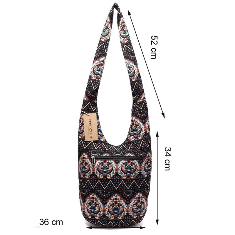 Annmouler Vintage Women Shoulder Bag Bohemian Style Messenger Bag Cotton  Hobo Bag Floral Printed Crossbody Bag for Girls. 2223 (2). c.  MG 0740-1 5d452a0ac4a76