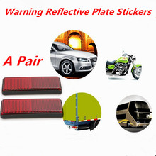 2pcs Plastic Warning Reflective Plate Stickers Safety Sign Rectangle Adhesive Reflector Stickers For Car SUV Truck Motorcycle