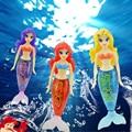Más nuevo robot pequeña cola de pez sirena muñecas peluca colorida sirena robofish electrónico niño de natación juguetes para mascotas 3 colores disponibles