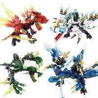 4 יחידות\סט Ninjagoes אביר דרקון לבני ninja mini פעולה דמויות צעצועי אבני בניין ילדים חם חבר להאיר צעצוע לילדים