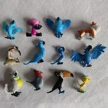 12 pces lote tipo diferente simulação aves animais/papagaio/pvc figura de ação modelo brinquedo
