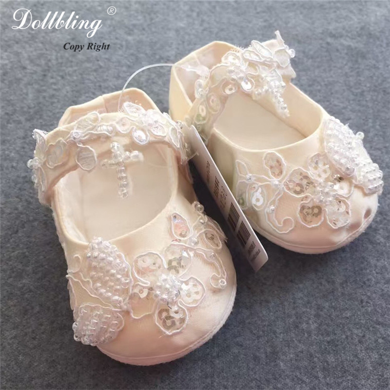 Luxury Ivory Applique Bling Jesus Cross Baptism Pageant Match Baby Shoes Champagne Sparkle Annual Bridal Party Bella Keepsake