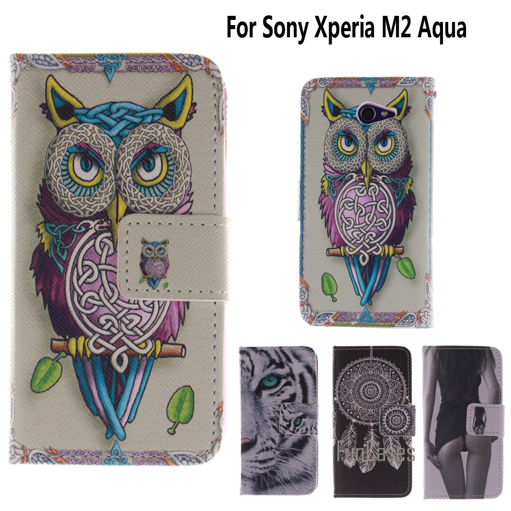 Flip Case for coque Sony Xperia M2 Aqua Case Cover for fundas Sony M2 Aqua Cover D2403 D2406 4.8 inch + Stand Card Holder