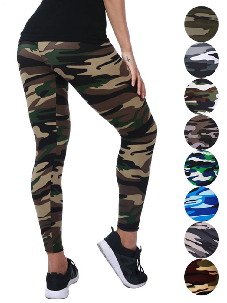 YSDNCHI Pants Trouser Leggins Stretch Deportes Graffiti-Style Slim Army Womens for Green