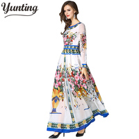 Brand Women long Dress hot sale 2019 Autumn Winter Russian Style Print Dresses Long Elegant vestidos