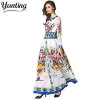 Brand Women long Dress hot sale 2019 Autumn Winter Russian Style Print Dresses Long Elegant vestidos